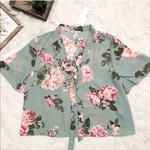 Bleuh Ciel Green Sheer Floral Crop Blouse Large
